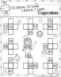 1st Grade Math Worksheet for February - 10 more 10 less Valentine's Cupcakes activity.