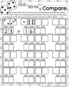 1st Grade Math Worksheet for February - Place Value Comparison