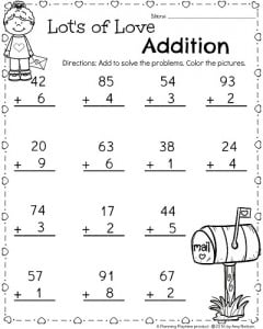 1st Grade Math Worksheet for February - Valentine's Day Addition.