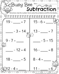 1st Grade Math Worksheets for February - Valentine's Day Theme Subtraction
