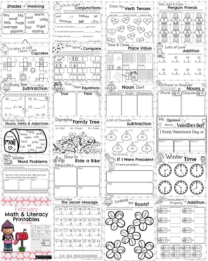 1st Grade 1st grade math addition worksheets : 1st Grade Math and Literacy Worksheets for February - Planning ...