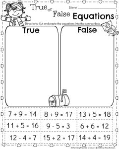 1st Grade Math worksheets for February - Valentine's theme True or False equations activity.