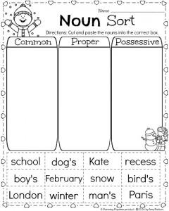 1st Grade Noun Worksheets for February - Common, Proper and Possessive Nouns Sort.