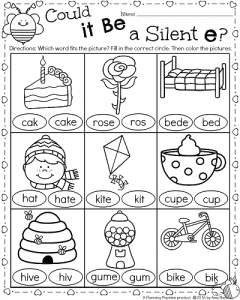 1st Grade Silent e worksheets for February - CVCe activity.