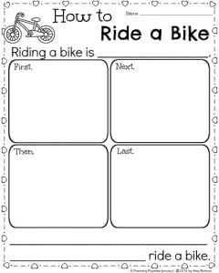 1st Grade Writing Prompts for February - How to Ride a Bike Writing Organizer
