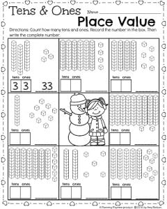 1st Grade math worksheet for February - Place Value tens and ones.