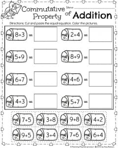 1st Grade math worksheets for February - Commutative Property of Addition