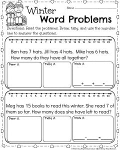 st grade math and literacy worksheets for february  planning playtime st grade subtraction worksheet for february st grade winter math  worksheets for february  word problems under