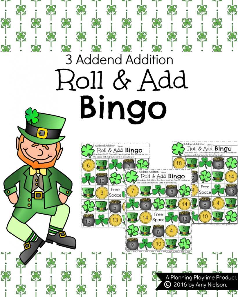 Addition Bingo Cards - Roll 3 dice, add them together, and fill up your card. So fun!