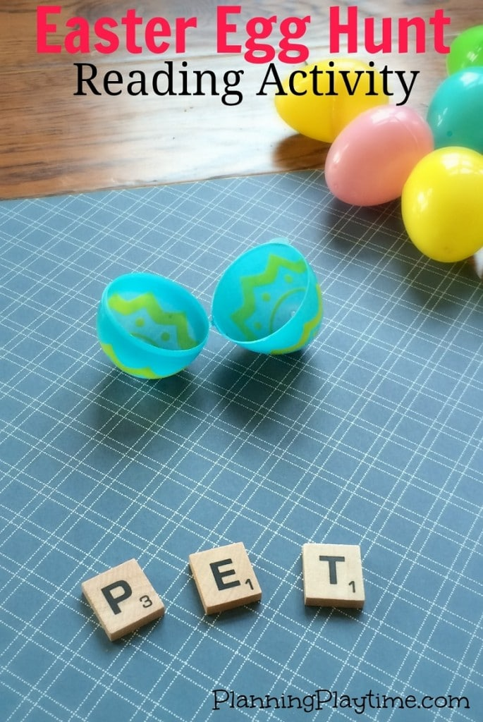 Easter Reading Activity - Hunt for eggs filled with 3 scrable tiles, and make the word.