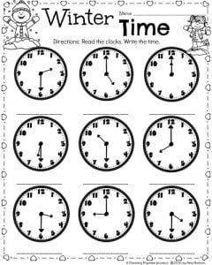 st grade math and literacy worksheets for february  planning playtime february math worksheets for st grade telling time