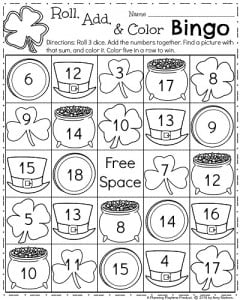 First Grade Addition Worksheets - Roll, Add, and Color Bingo.