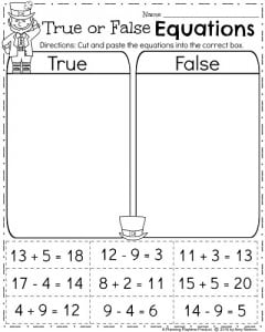 First Grade Math Worksheets - True or False Equations