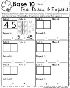 First Grade Math Worksheets for March