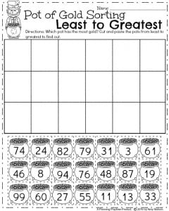 First Grade Math Worksheets for March - Pot of Gold Sorting Least to Greatest