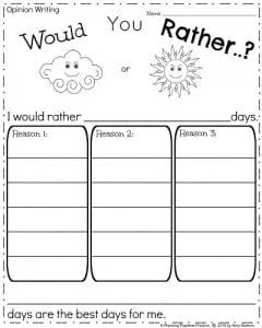 First Grade Opinion Writing Prompt for March - Would You Rather (Clouds or Sunshine)