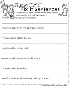 First Grade punctuation worksheets for March - Flying High Fix It Sentences
