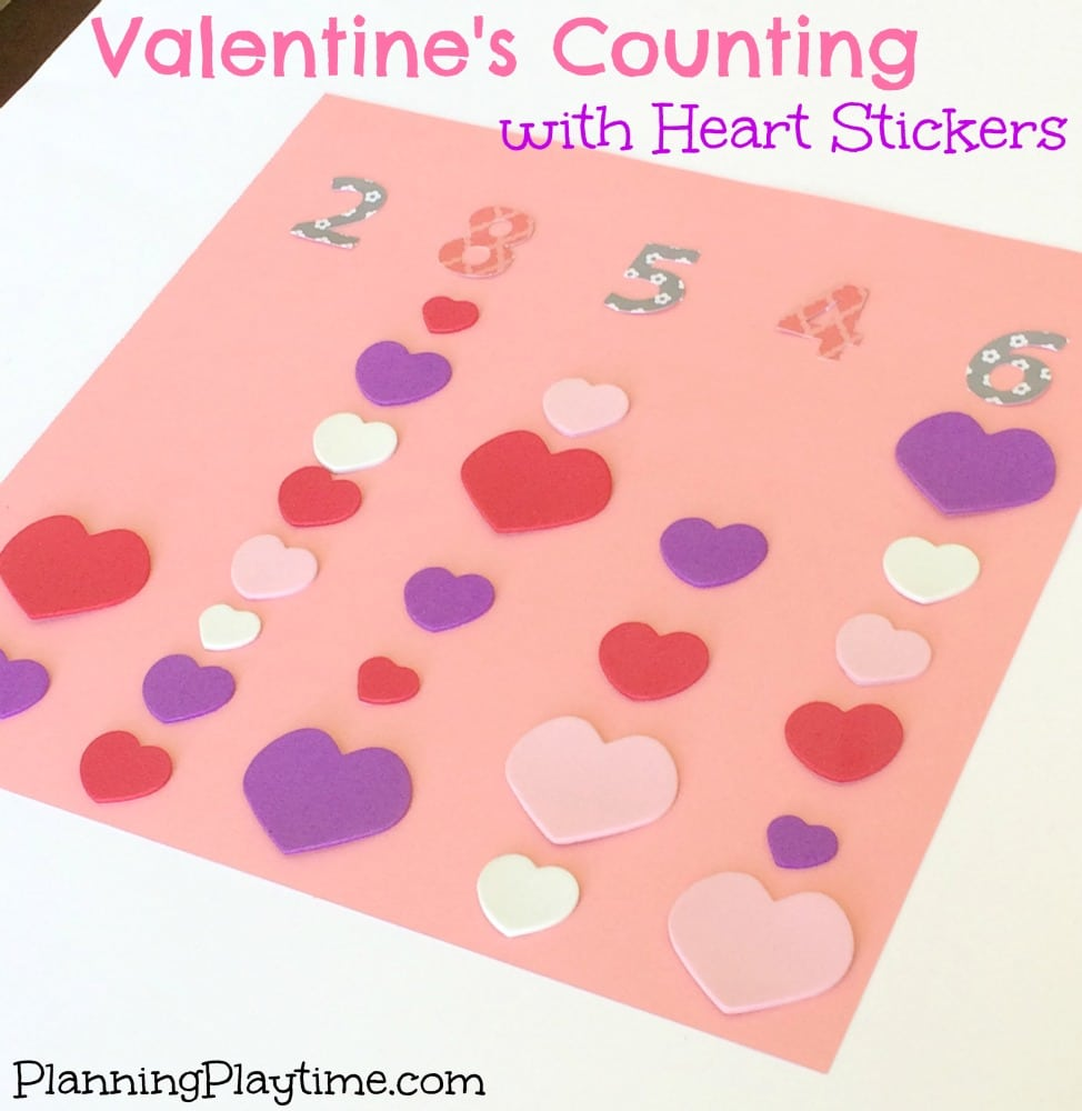 Kindergarten Math Activities - Counting with Heart Stickers