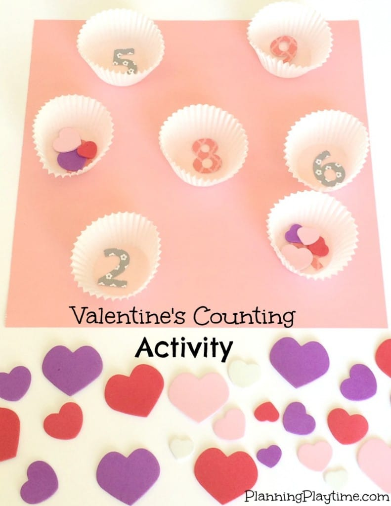 Kindergarten Math Activities - Valentine's Counting Activities with foam heart stickers.
