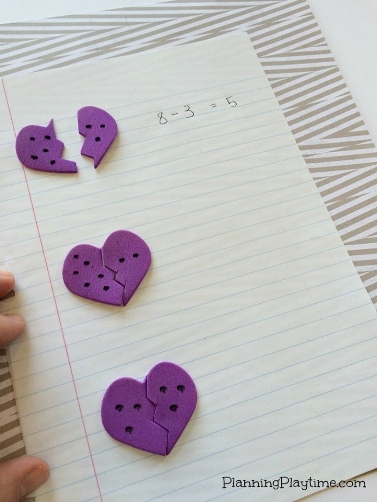 Kindergarten Math Activities for February - Broken Heart Subtraction