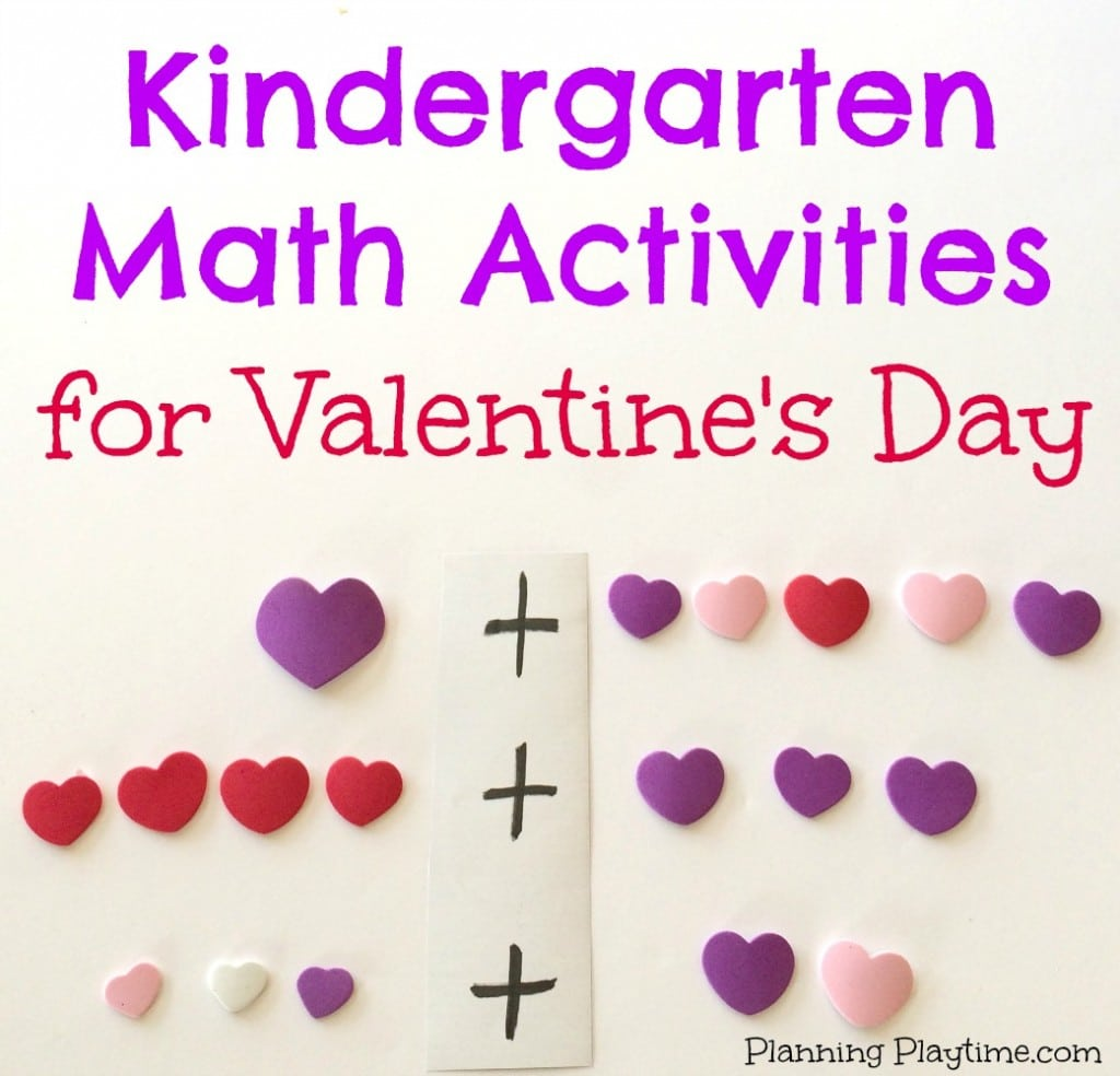 Kindergarten Math Activities for Valentine's Day using foam heart stickers.