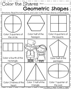 March First Grade Geometry Worksheets