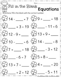 Printables Worksheets For First Graders march first grade worksheets planning playtime math true or false equations
