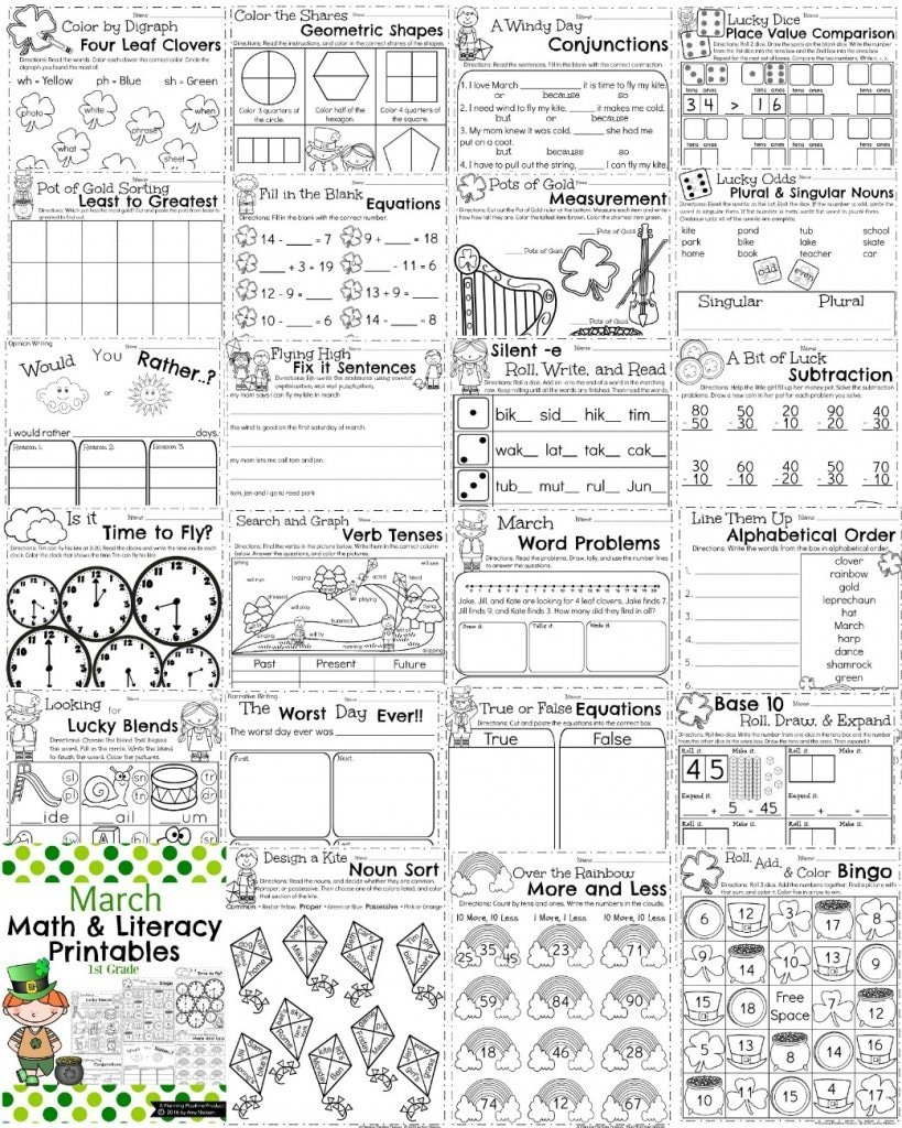 March First Grade Worksheets - Planning Playtime