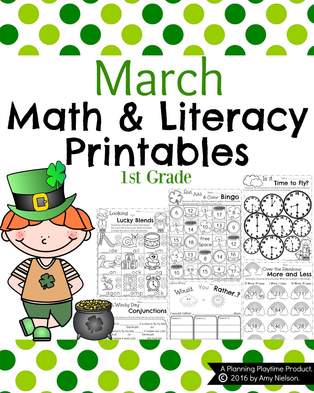 March First Grade Worksheets Planning Playtime – First Grade Math Worksheets Addition