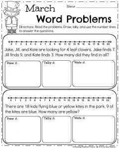 March Word Problems for First Grade