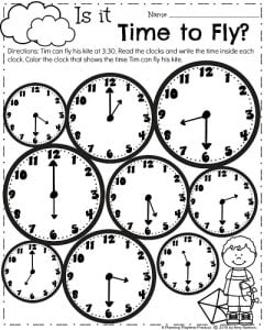 Telling Time worksheet for March.