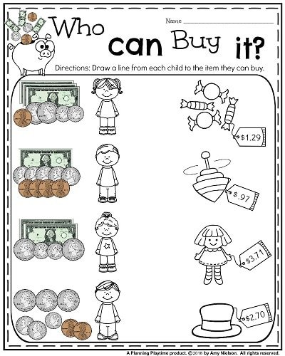 Free 1st grade math worksheets money