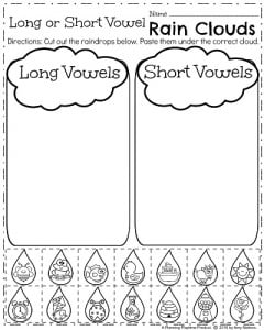 April Kindergarten Worksheets - Long or Short Vowel Sound Words.