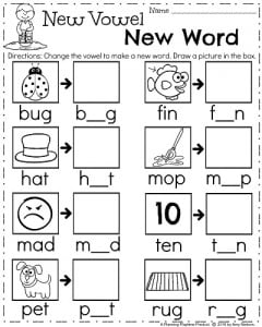 April Kindergarten Worksheets - Medial vowels