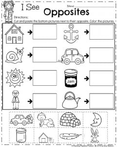 April Kindergarten Worksheets - Opposites (Antonyms)
