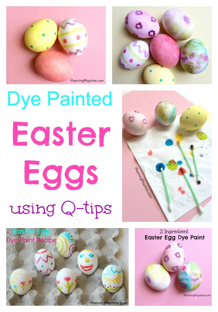 Dye Painted Easter Eggs using q-tips. Little mess and lots of fun.