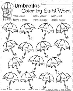 Kindergarten ELA Worksheets for Spring - April Color by Sight Words ...