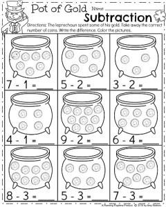 March Kindergarten Worksheets  Planning Playtime  Kindergarten Math Worksheets  Pot Of Gold Subtraction
