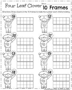 Kindergarten Math Worksheets for March - 10 Frames