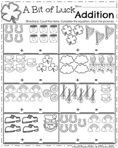 Kindergarten Math Worksheets for March - A bit of Luck Addition
