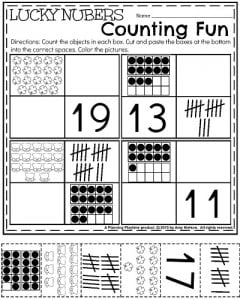 Kindergarten Math and Literacy Printables - March 2