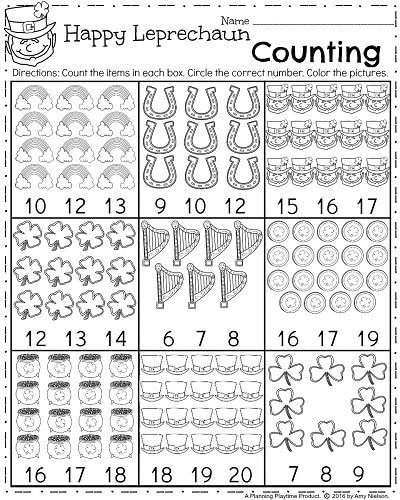 FREE March Kindergarten Worksheet - Happy Leprechaun Counting