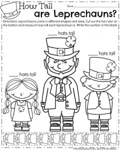Kindergarten Measurement Worksheet for March