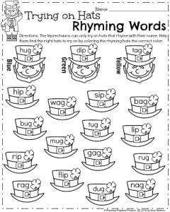 math worksheet : march kindergarten worksheets  planning playtime : Kindergarten Rhyming Worksheets Free