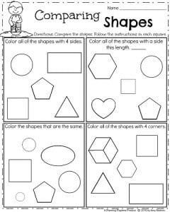 Kindergarten Shapes worksheet for Spring - Comparing Shapes