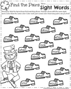 Kindergarten Sight Words Worksheets for March
