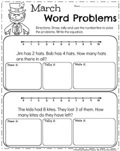 Kindergarten Word Problems for March
