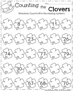 March Kindergarten Math Worksheets - Counting