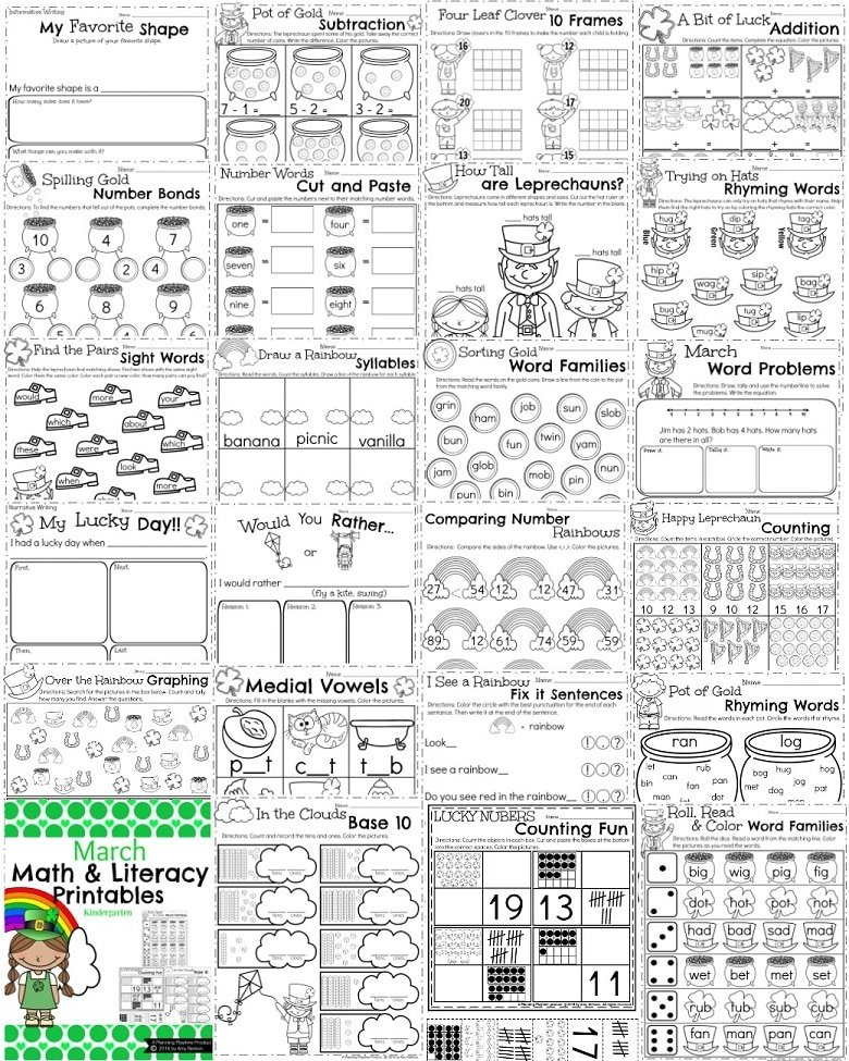 math worksheet : march kindergarten worksheets  planning playtime : Reading Readiness Worksheets For Kindergarten