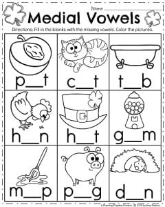 march kindergarten worksheets  planning playtime march kindergarten worksheets  medial vowels